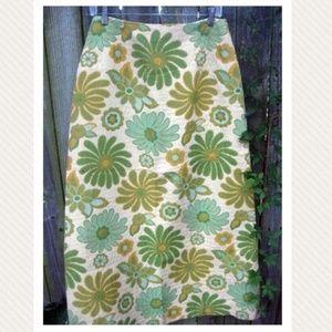 VTG 70s Mod Floral Print Tapestry Maxi Skirt M 8